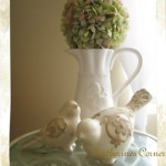 hydrangea topiary with doves