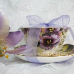 purple pansy teacup