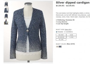 silver dipped cardigan