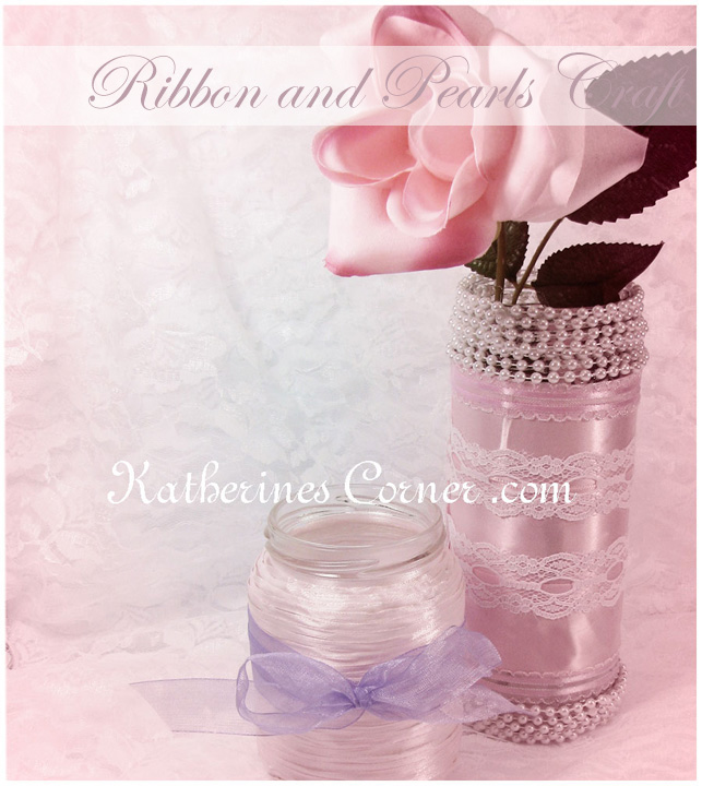 Ribbon and Pearl Jar Craft