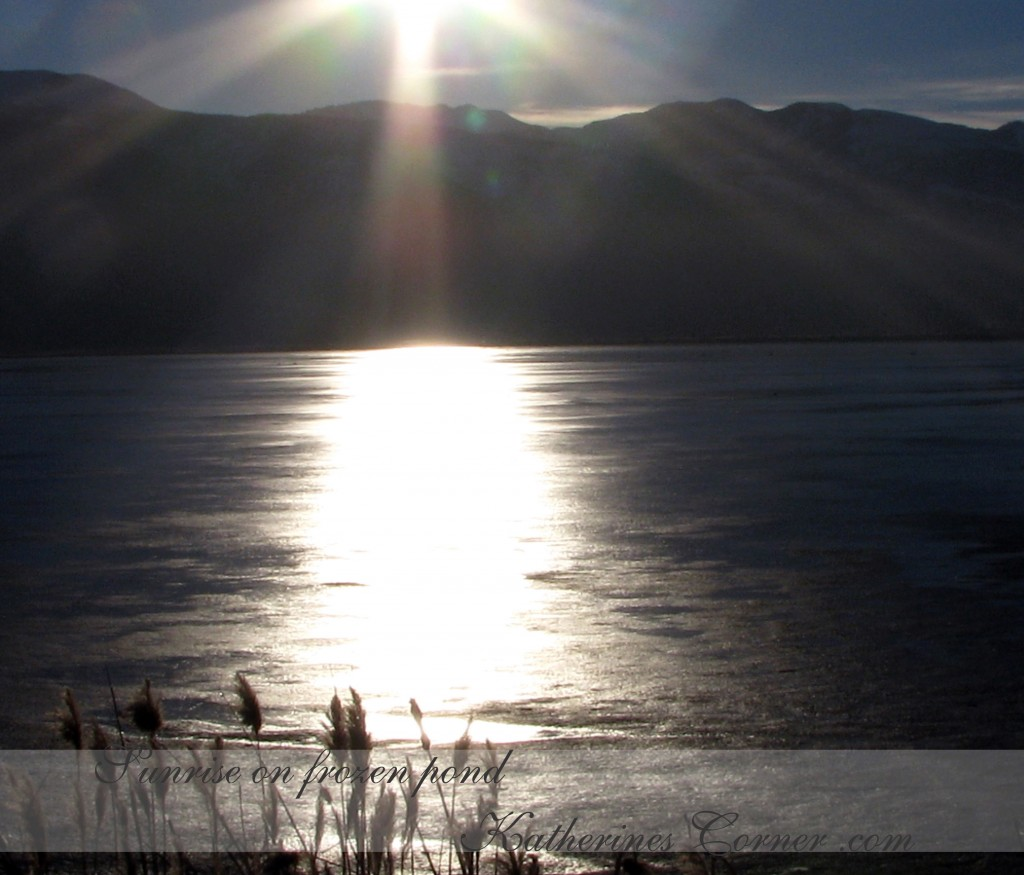 Sunrise on frozen pond katherines corner