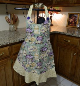 teacup and flowers apron