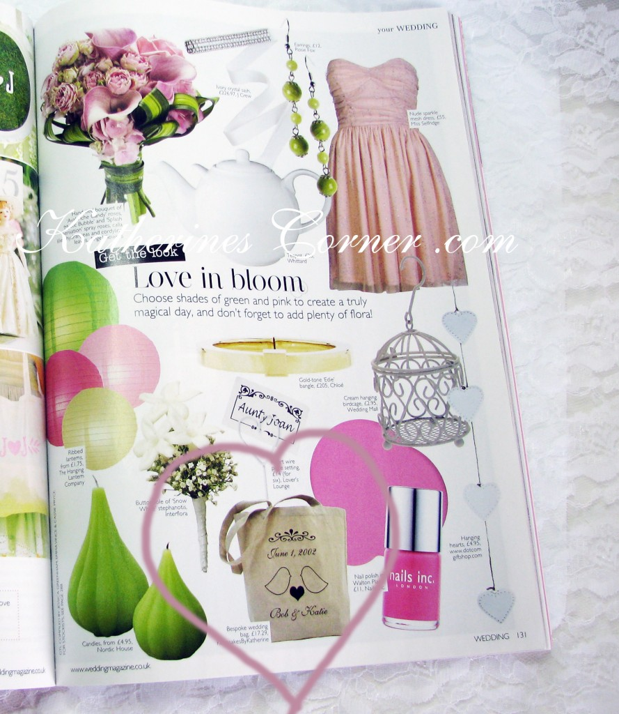 custom wedding bag as seen in wedding magazine Kattherines Corner