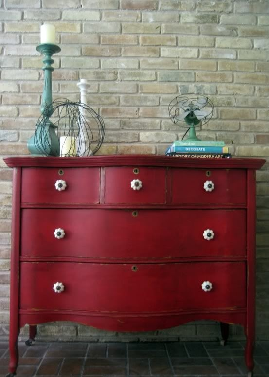 home decor red dresser