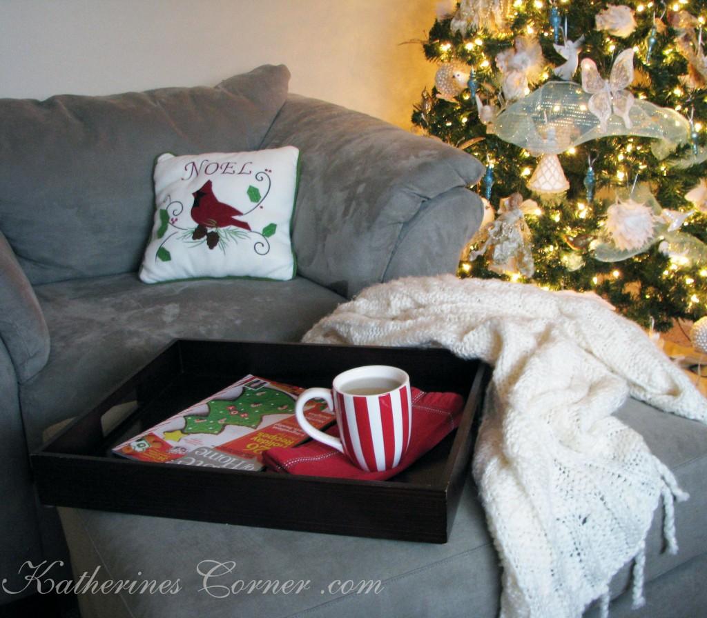 tea by the Christmas tree
