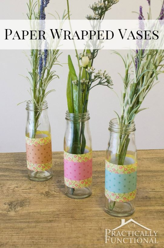 diy paper wrapped vases for spring