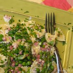 Farfalle with Asparagus Peas Pancetta in Cream Sauce