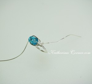 blue wire wrapped ring diy