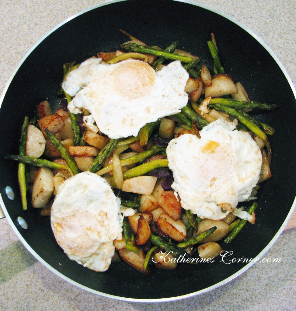 asparagus and new potatoes with egg