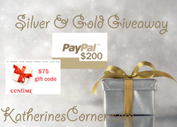 silver and gold giveaway button