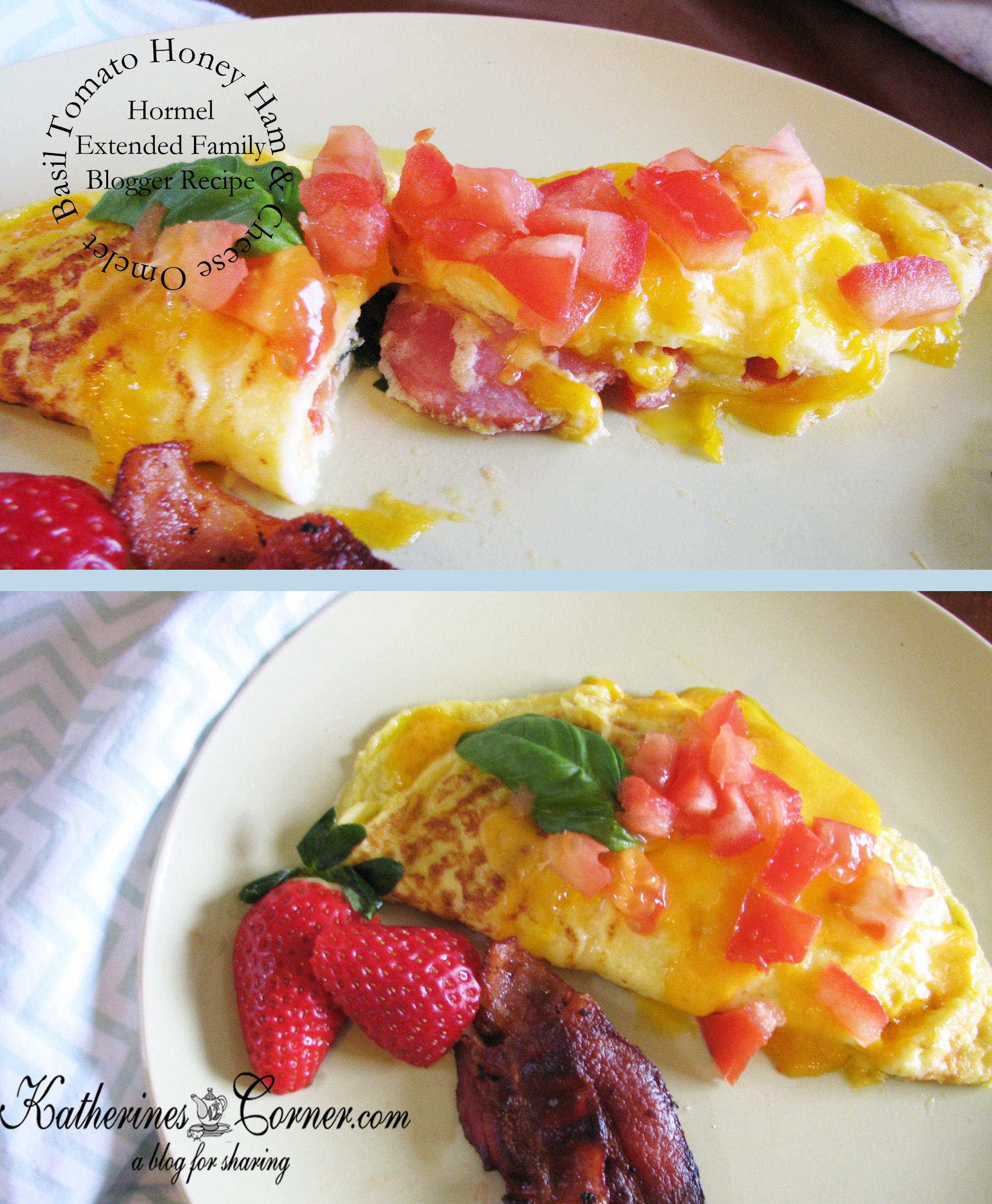Basil Tomato Honey Ham Cheese Omelet