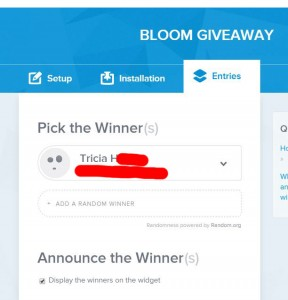 bloom giveaway winner