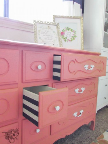 diy french dresser with perfectly striped drawers
