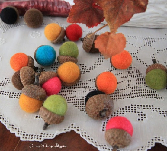 diy felted acorns