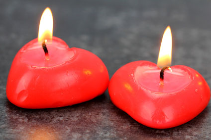Valentine's red candle,