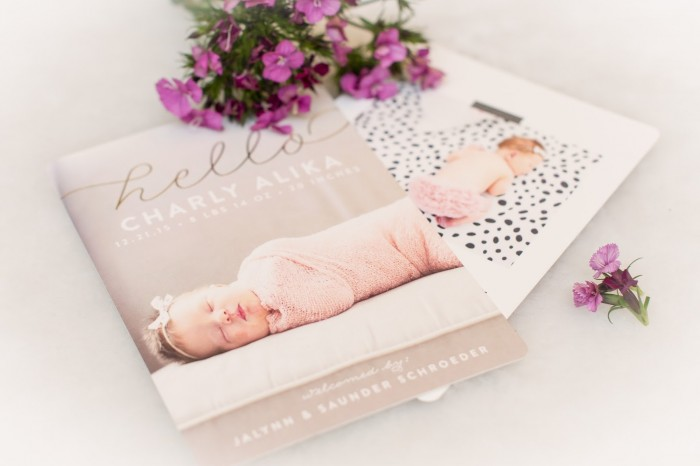 create beautiful borth announcement with minted