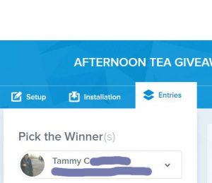 afternoon tea giveaway winner
