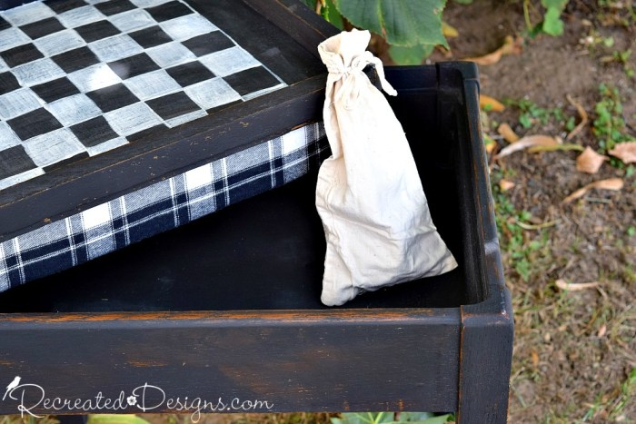 reustic diy checkerboard an padded stool