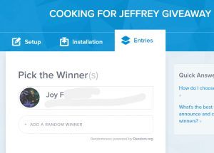 cooking for Jeffrey giveaway winner