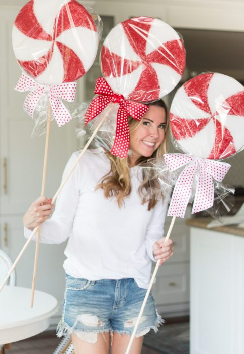 diy peppermint tree toppers