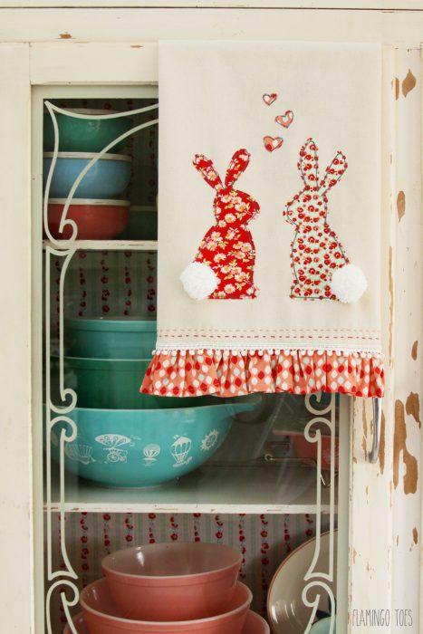 diy bunny dish towel