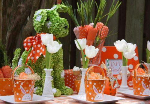 orange easter table setting