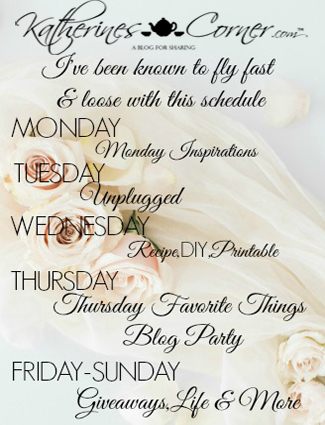 Katherines Corner blog post schedule