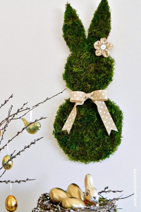 diy moss bunny wall art