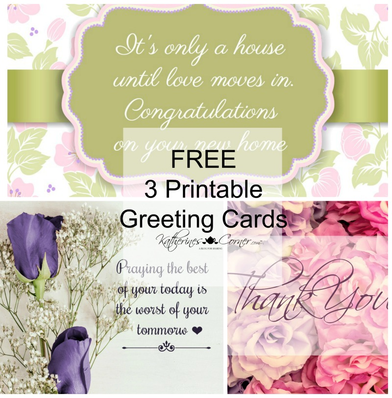 3 Purple Printable Greeting Cards