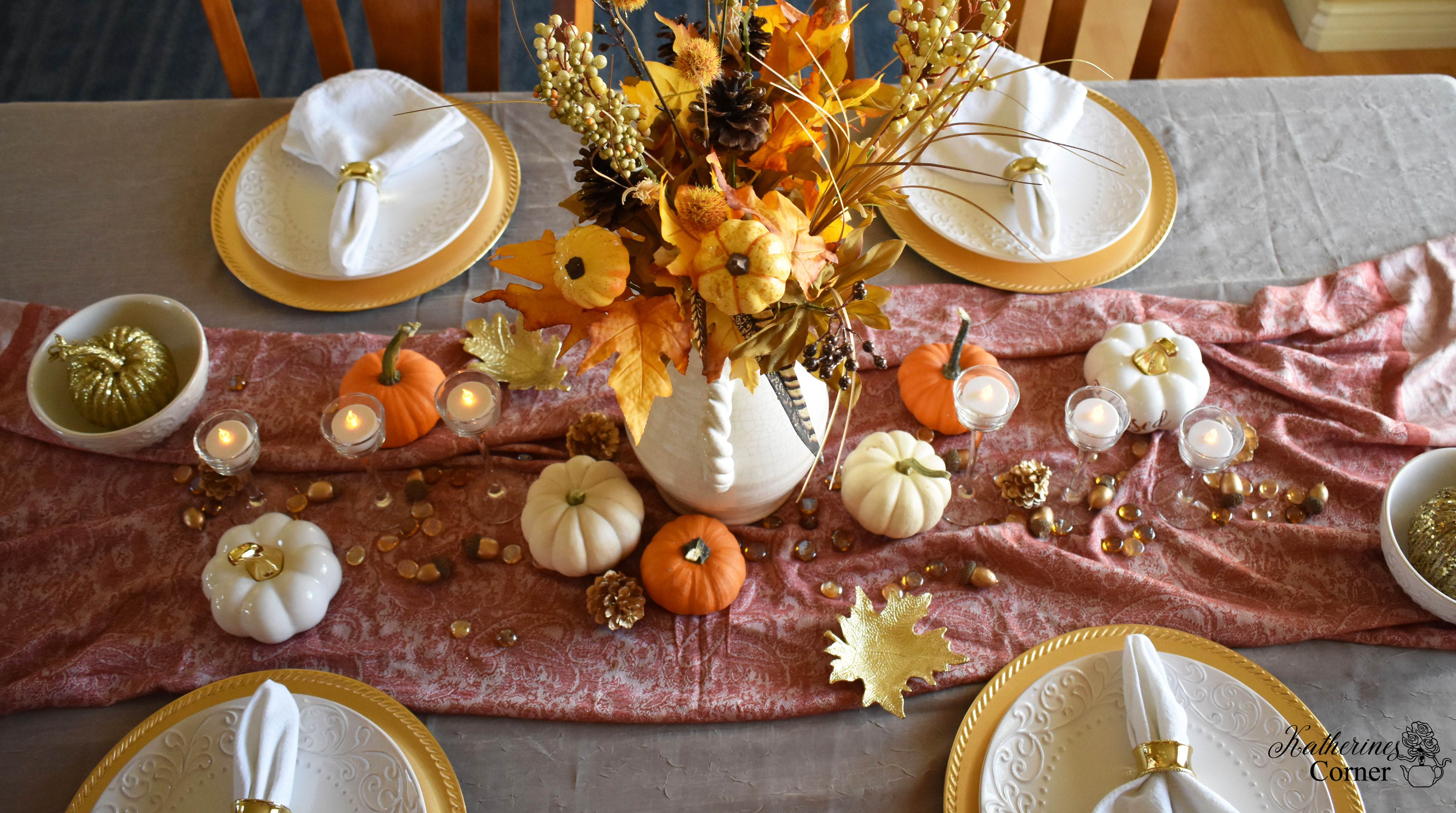 Thanksgiving Gold Tablescape and Tablescape Blog Hop